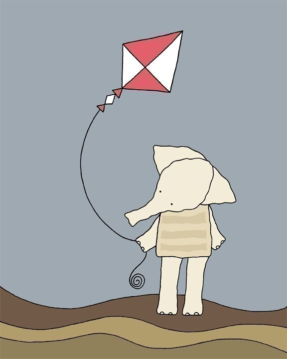 Elephant Flying a Kite